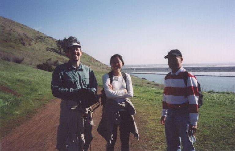 [Feb.  2002] Adrian, Evelyn, and someone else (sorry) at Coyote Hills on SuperBowl Sunday. (February 3, 2002)