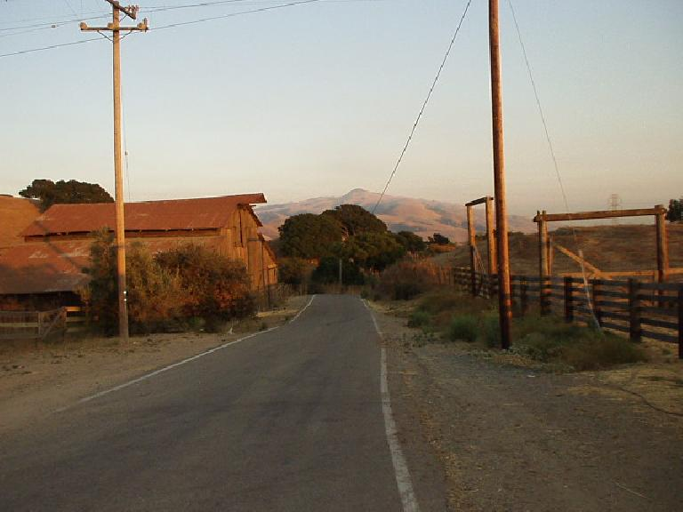 [Aug. 2002] Morrison Canyon Rd. is a great road for hill-training, just 2 miles from my house.  It shoots up almost 800 feet in 1.75 miles! This is a nice south-facing shot at the top before a sunset. (August 14, 2002)