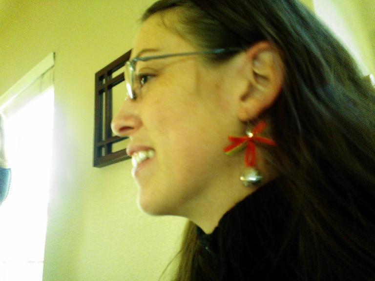 Colleen's festive earrings.