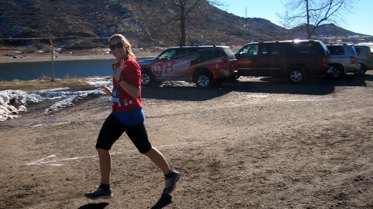 Danielle in the final 100m stretch of the 5k run.