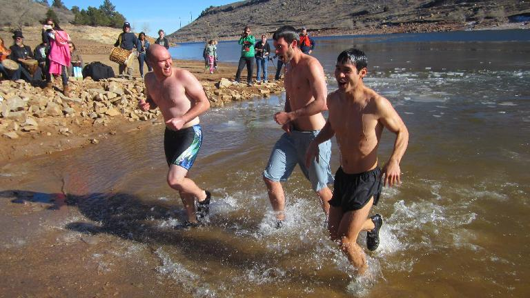 Kevin, Kyle and Felix Wong almost out of the water.
