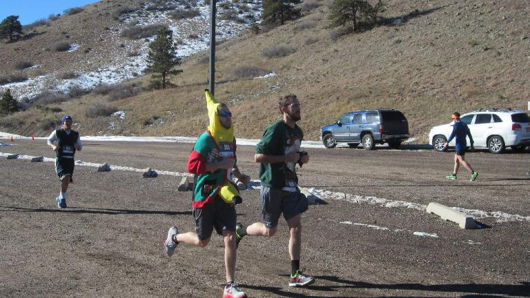 Kevin chasing a banana in the final stretch of the Sweaty Sweater 5k.