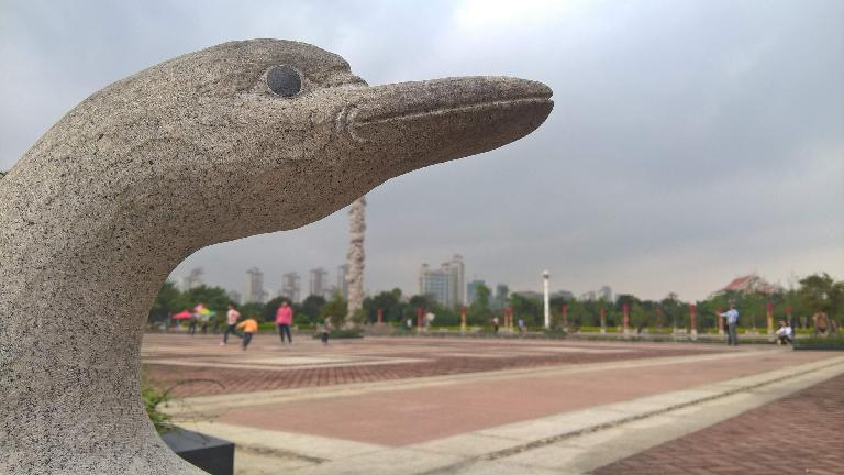 Stone bird statue outside the China Museum of Fujian-Taiwan Kinship.