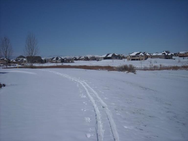 Cross-country skiing in the hood.