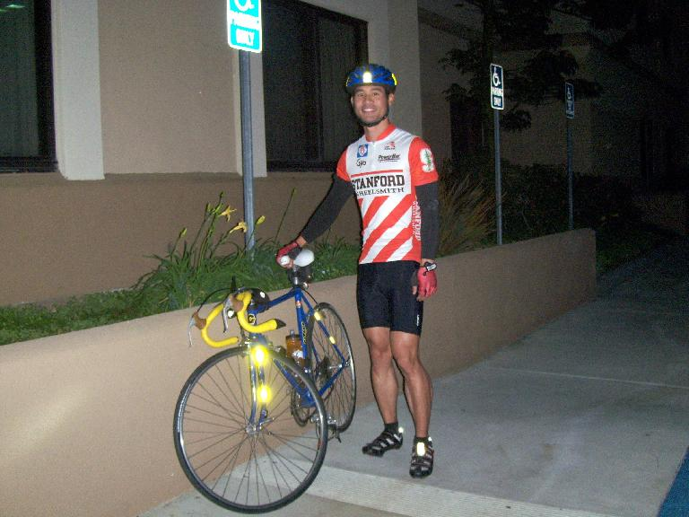 [Race day, 6:06a] Felix Wong ready to roll to the start of the race in Santa Clarita. (October 8, 2011)