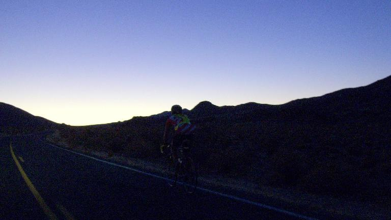 [Mile 167, 6:28 p.m.] It was getting dark a couple miles from the top of Mountain Section 4 (an 8.4-mile, 1270' climb) from Trona to Panamint Valley.