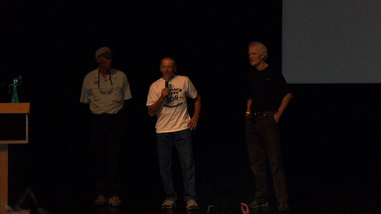 "Three of the four ""fathers of ultracycling""---Lon Haldeman, John Howard, Michael Shermer, and John Marino---reminisced about the first Race Across America in the pre-race meeting.  They'd all race again in this year's edition of the Furnace Creek 508. (October 7, 2011)"
