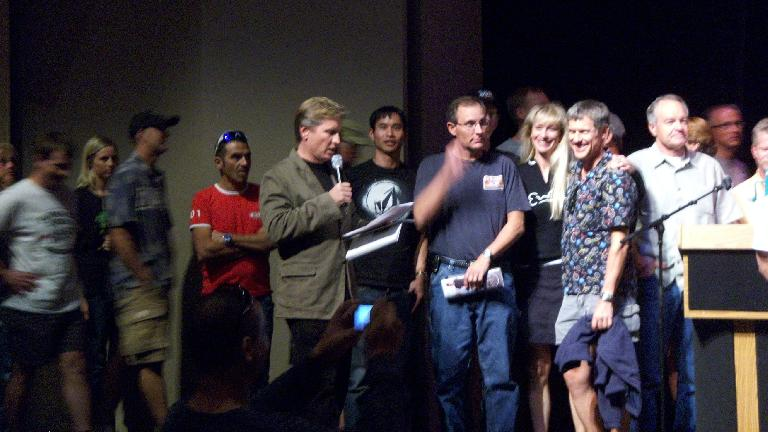 Adventure Corps founder Chris Kostman invited all racers up on stage while he said some final words.  That's me to the side of him. (October 7, 2011)