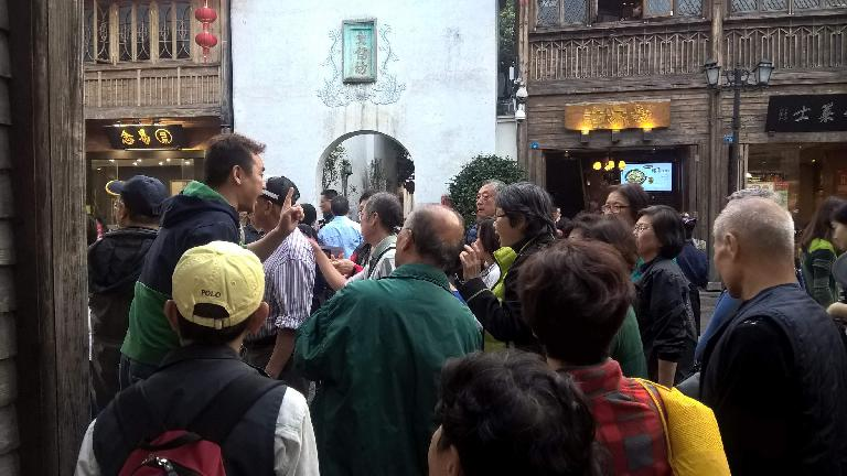 Our tour guide giving instructions on when and where to meet on Yangqiao E Rd. in Fuzhou, China.