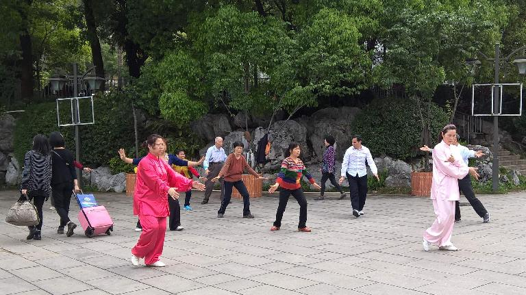 Local Taiwanese doing tai chi at Zuohai Park in Fuzhou, China. (April 17, 2016)