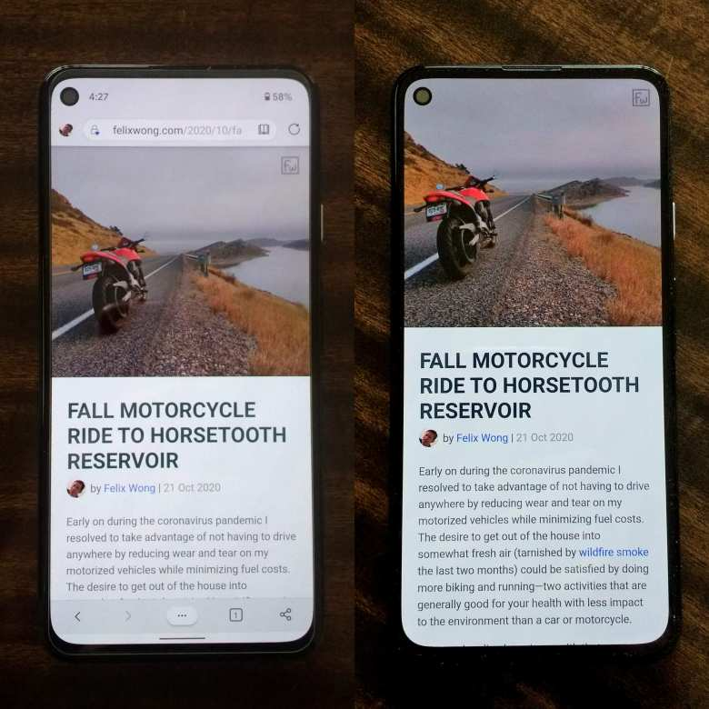 Fall Motorcycle Ride to Horsetooth Reservoir article shown in Microsoft Edge for Android versus felixwong.com Progressive Web App