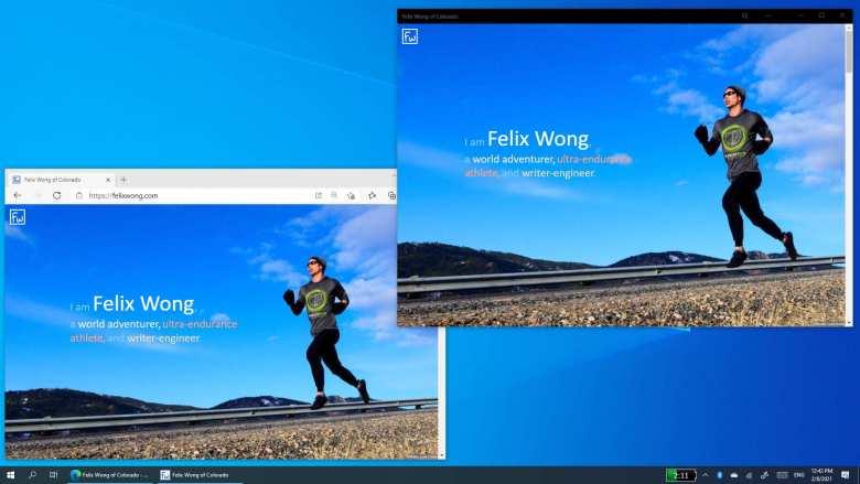 felixwong.com shown in Microsoft Edge browser versus Progressive Web App on Windows 10 desktop