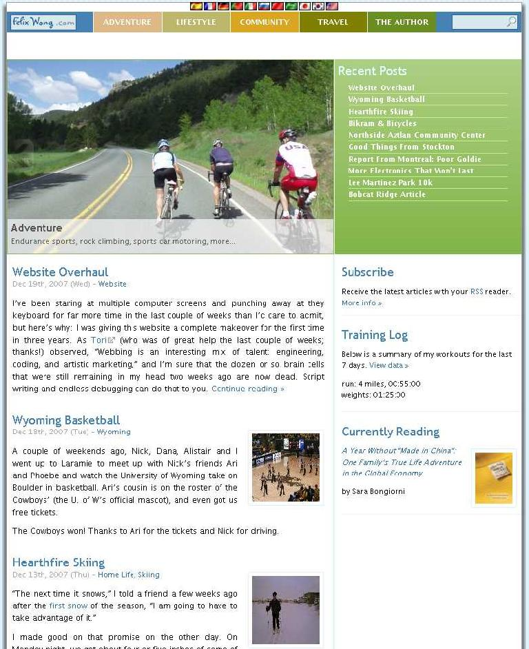 [2008-] Added more general categories, which should be adequate for the next few years at least.  Greatly enhanced photo presentation and integration with articles.