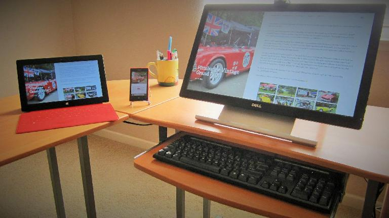 Website on tablet, phone and desktop in August 2014.
