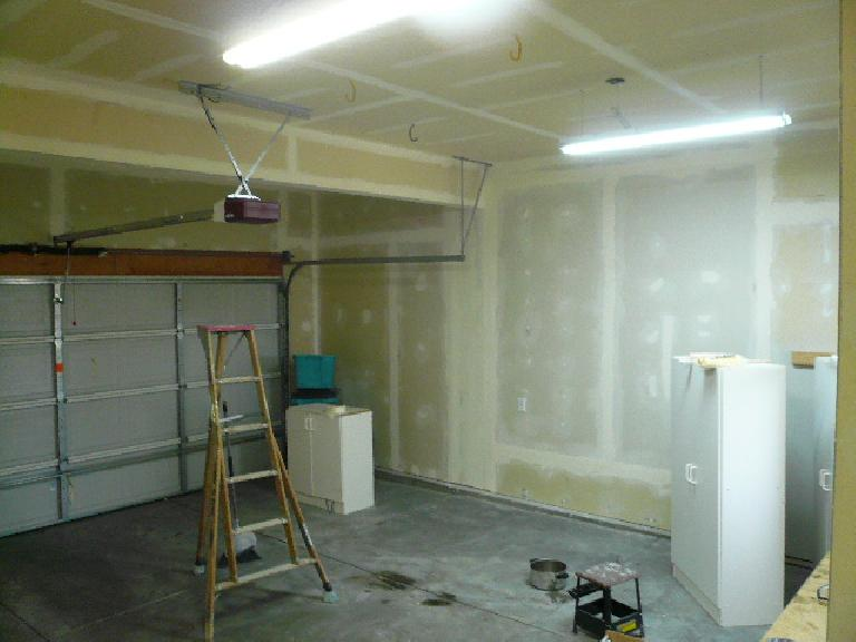 [Intermediate stage] The left wall with drywall instead of pegboard.
