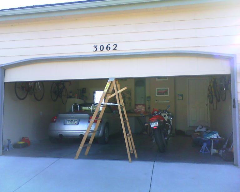 How I kept the garage door open when the garage door opener broke.