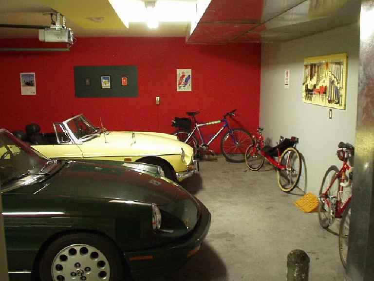 And lots of red, yellow, and green... the colors of the racy machines in the Garage Mahal.  Note that during this time Elaina (the Alfa Romeo) had replaced Lina (the Z3), and The Tank (my 32-lb beater bike) had returned. (June 1, 2004)
