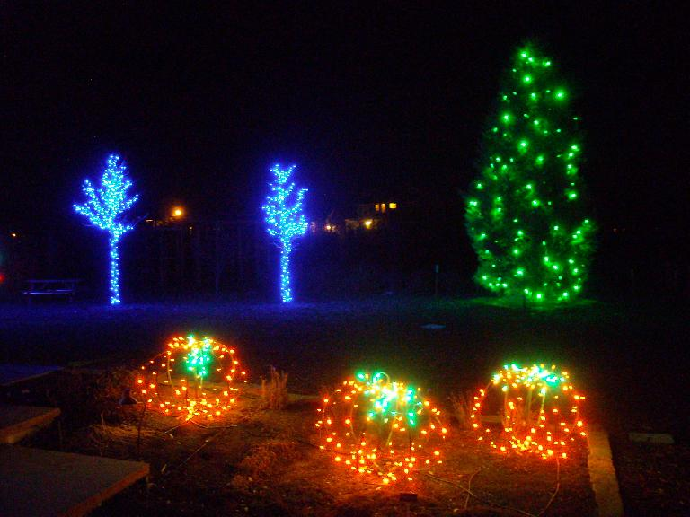 Lights shaped like pumpkins and trees.