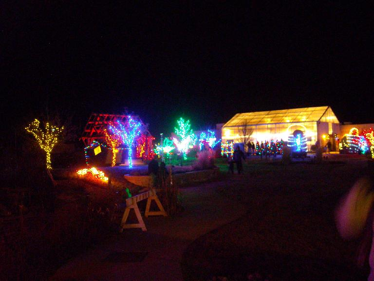 The lights behind the clubhouse at the Gardens of Spring Creek.