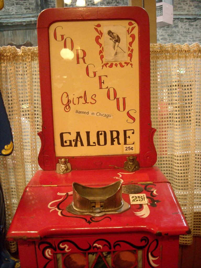 """Gorgeous Girls Galore"" peep machine (only 25 cents) at the Ghost Town Museum."