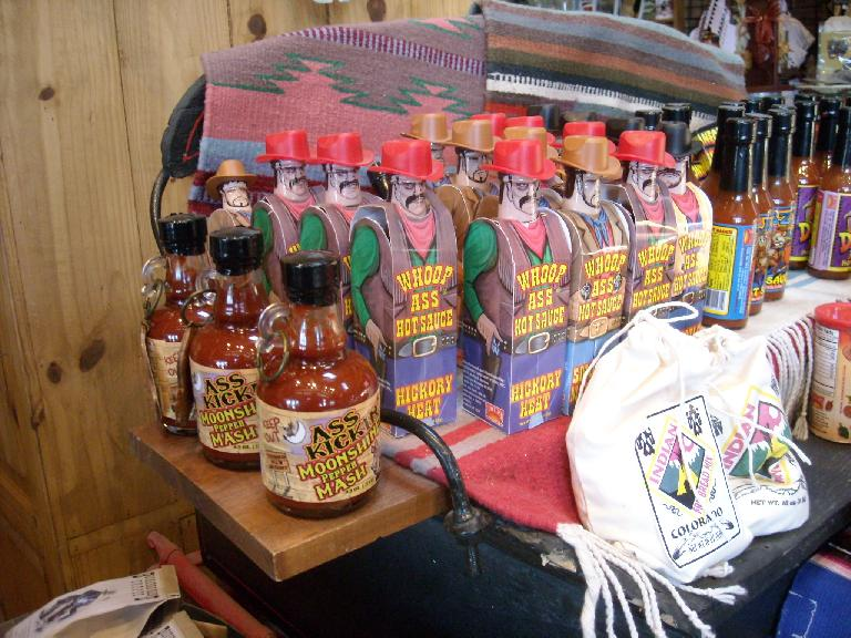 Whoop Ass Hot Sauce sold at the Ghost Town Museum.