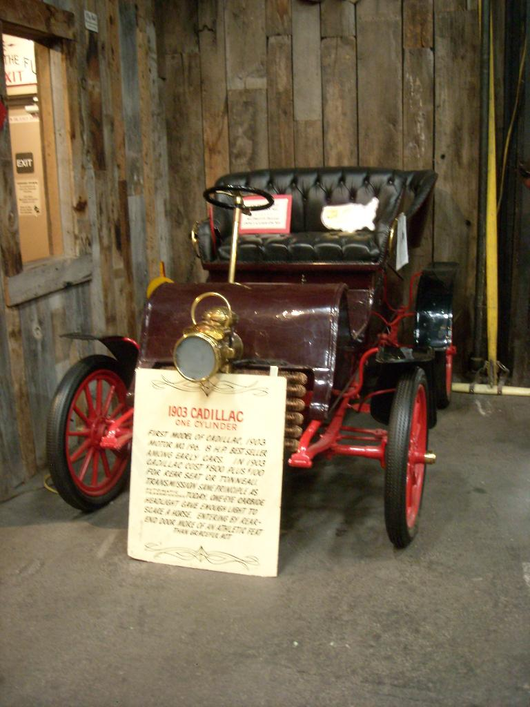 A 1903 Cadillac (one of the first ones) with a one-cylinder engine.