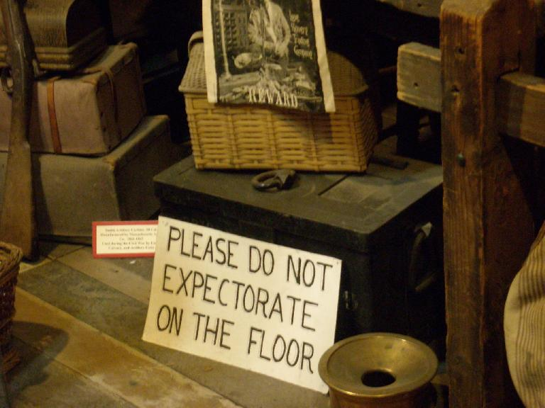 """Please do not expectorate [spit] on the floor."""