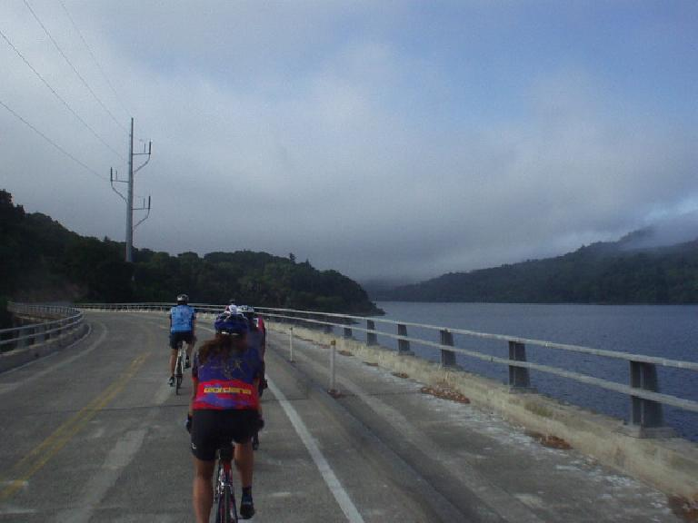 [Mile 6, 8:02 a.m.] Riding by the Crystal Springs Reservoir off of Skyline Blvd.
