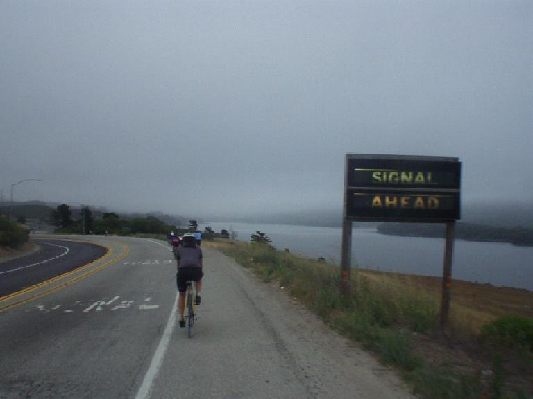 [Mile 9, 8:11 a.m.] Following Peggy on her time trial bike.  Clearly, this was early in the day, before she dropped me.
