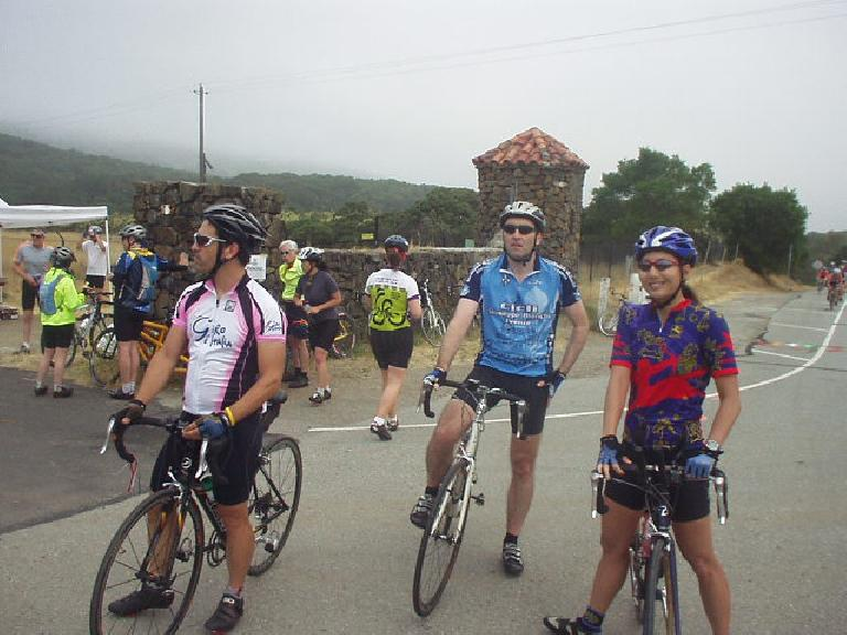 Arik, Ambrose, and Janet at one of the many rest stops, ready to go.
