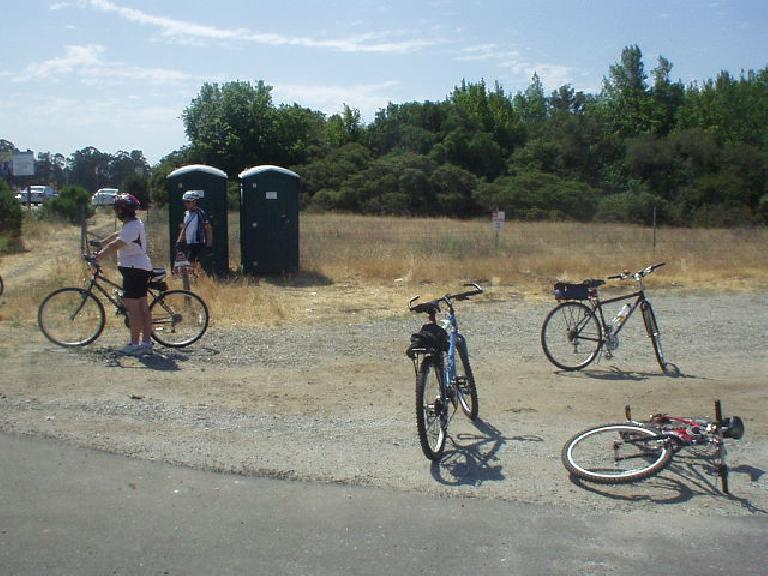 [Mile 47, 11:00 a.m.] The Tank takes a breather at the rest stop.