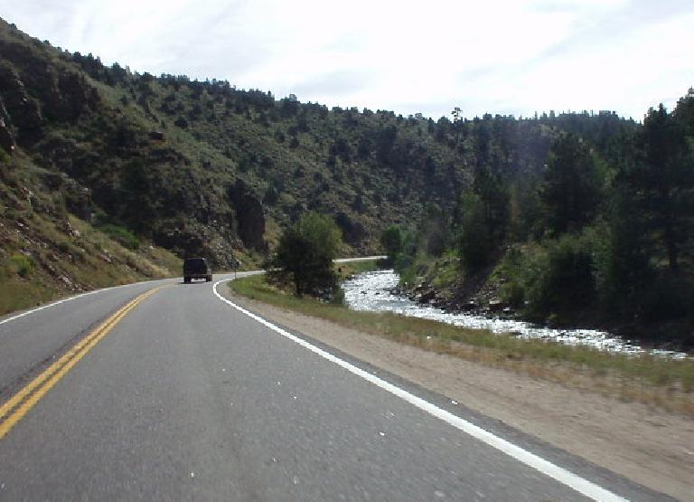 The drive through the US-6 canyon roads to Golden from around Idaho Springs was a pretty scenic drive.  My friend Mike S. says it is a good route to take on winter weekends when I-70 is totally congested with cars heading to the ski slopes.