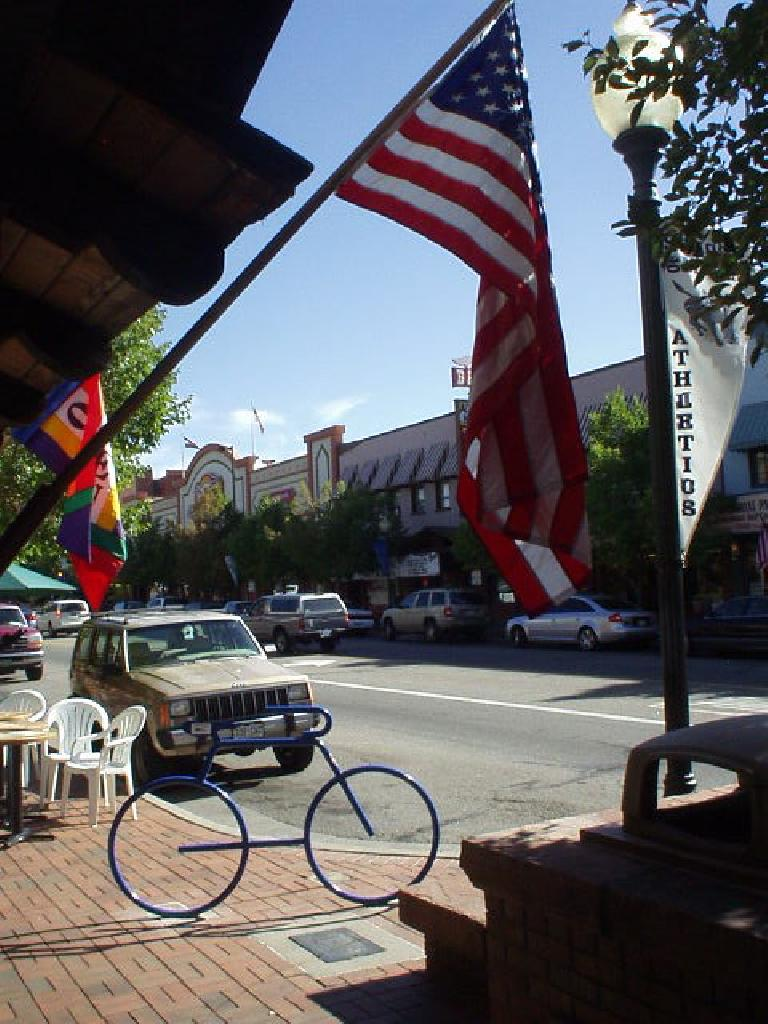 American flag with a bike rack shaped as a bicycle.
