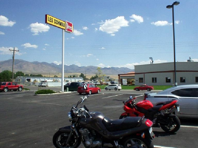 """Mile 335: I decided it was a good idea to stop by Les Schwab Tires in Winnemucca, NV to replace the spare """"just in case""""..."""