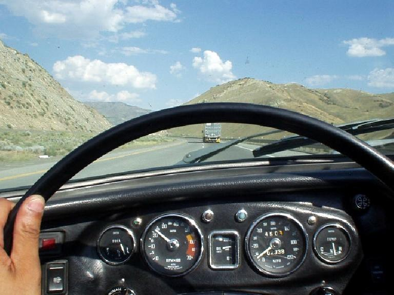 Continuing on through Nevada, this was the view from the cockpit of a vintage '69 British roadster.