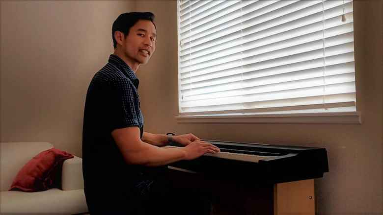 """Playing a cover of Jim Chappell's """"Gone"""" piano solo on the keyboard."""