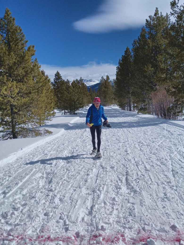 My friend Steve M. from the Fort Collins Running Club about to cross the finish line of the 2020 Gould Snowshoe Stomp.