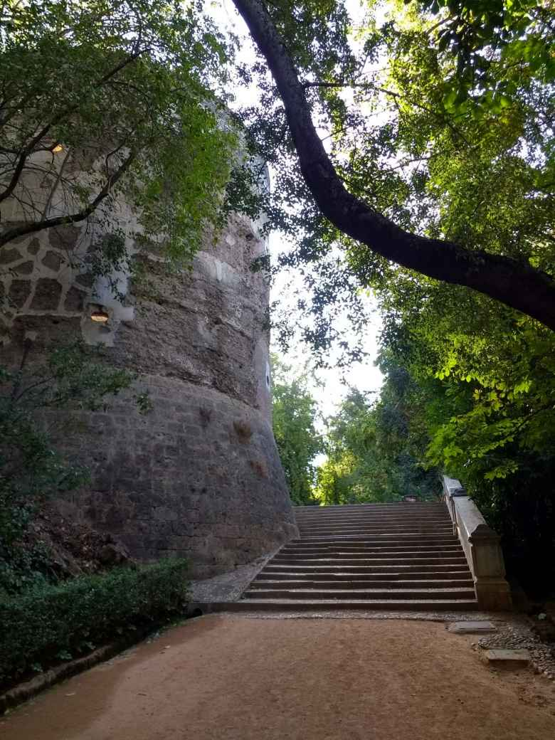 Steps along the periphery of the Alhambra.