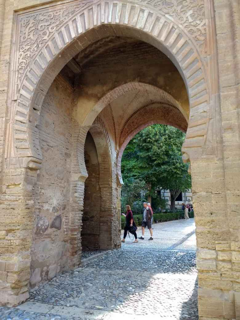Arched stone passageway at the Alhambra.