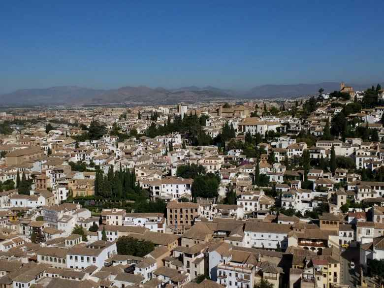 Albaicín, the old Moorish quarter of Granada, as seen from the Alhambra.