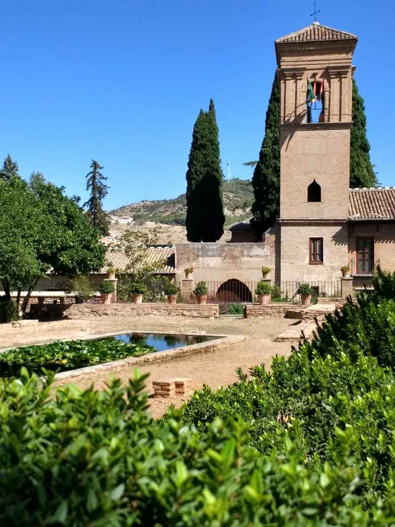 Church and bell tower at Generalife at the Alhambra.