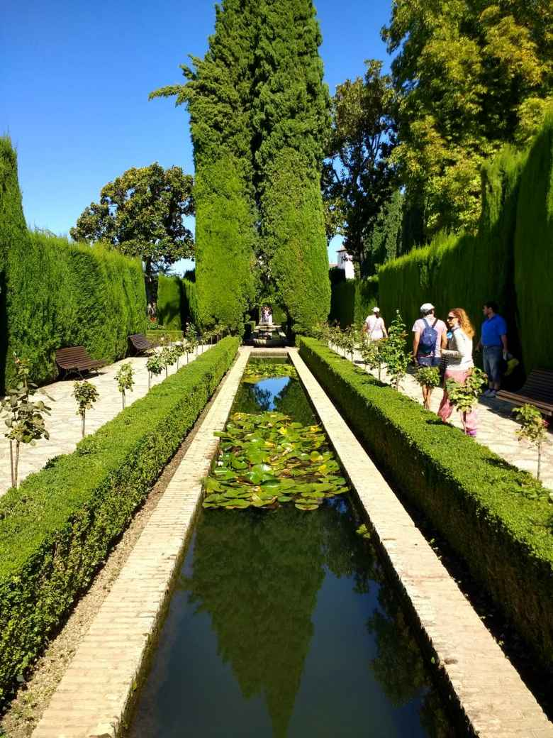 Garden with pond at Generalife at the Alhambra.