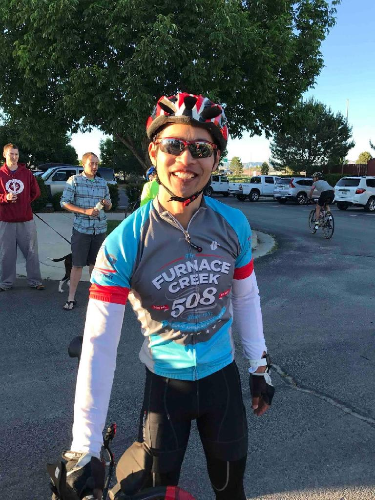 [Mile 202, 7:41 p.m.] Finished! Felix Wong is all smiles at the end of the 2017 Grand Mesa Double Century.