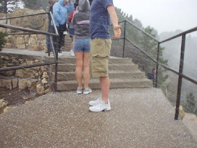 And by the time I got the the South Rim it really started snowing, completely obscuring the view of the canyon!
