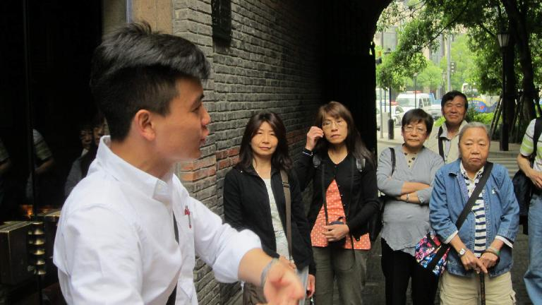 Our tour guide in an area near Nanjing Road in Shanghai.