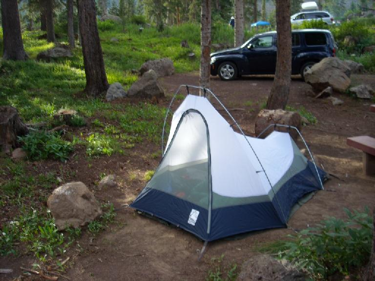 Camping at Little Bear in my trusty Sierra Designs Clip Flashlight CD (now 10 years old). (July 23, 2010)