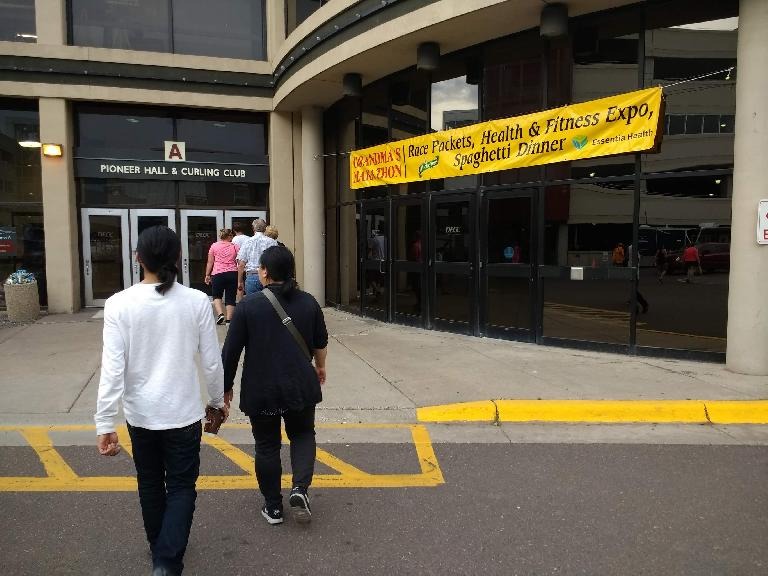 Dan and Kiri at the Duluth Entertainment Convention Center (DECC) to pick up my race registration packet.