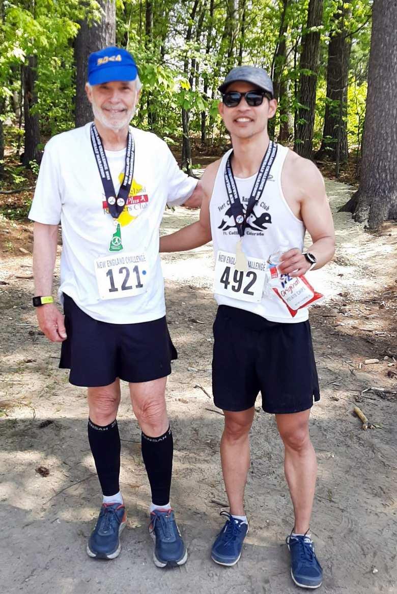 Bob Kennedy and Felix Wong after finishing the Granite State Marathon.