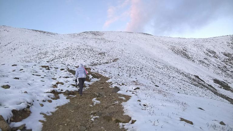 Maureen hiking up the Grays trail towards Grays Peak.