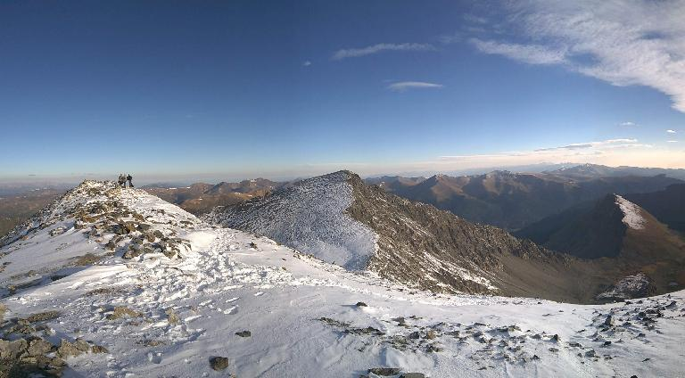 The summit of Grays Peak (left) with Torreys Peak beyond (center of photo).